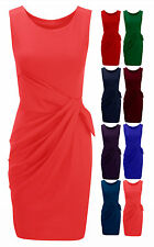 Womens Drape Bow Dress Ladies Pleated Ponte Stretch Shift Dress Plus Sizes 8-24