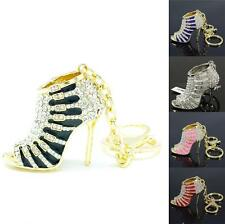 Swarovski Crystals New Cute Fashion High-Heel Shoe Key Chain Key Ring 5 Colors