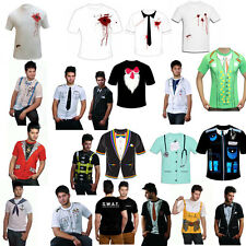 Mens Printed T Shirts Fancy Dress Costume Party Casual T Shirts Cowboy Doctor