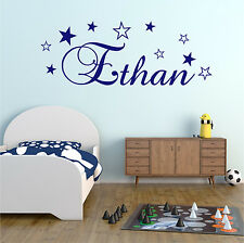 STARS Personalised NAME Girls Boys Bedroom Nursery Wall Art Sticker Decal