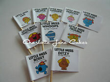 20 CUPCAKE FLAGS/TOPPERS - LITTLE MISS CHILDREN'S BIRTHDAY PARTY