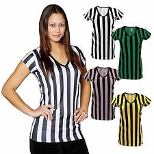 Mato & Hash Womens Deep V-Neck Ref Shirt Bar Referee  wait staff top
