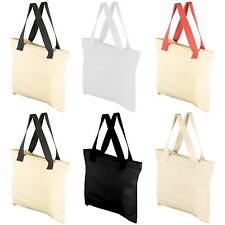 """Mato & Hash 17""""X17"""" Blank Cotton Canvas Tote Shopping Bag Zipper Top and Pocket"""