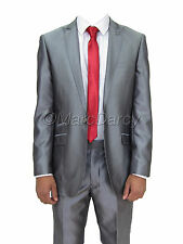 MENS DESIGNER SHINY SILVER GREY TWO PIECE SUIT IDEAL FOR WEDDINGS ALL OCCASIONS