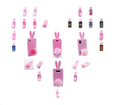 3D Cute Rabbit Bunny Soft Gel Rubber Silicone Case Cover for Various Models Pink