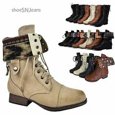 Womens Fold Over Military Combat Motorcycle Riding Plaid Tribal Print Boots Lace