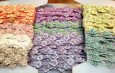 "Embroidered on Sheer 1/2"" SEED Glass BEADS Petite TRIM 1yd DOLLS Hairband"