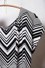 NEW Sz M Anthropologie Peak Stripe Top By Ella Moss Black & white zig-zag Last 1
