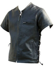 Mens Black Perforated Leather Short Sleeve Shirt Brand New LLL-459 SMALL TO 6XL