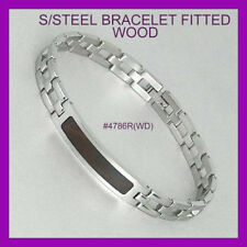 Men's AND Women's Stainless Steel ID Bracelet (Wood Inlay)