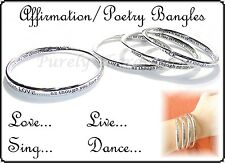 ~AFFIRMATION POETRY BRACELET BANGLE~Silver~Nickel Free~Dance~Live~Love~Sing