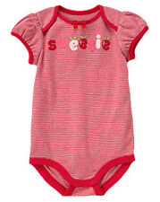 NWT Gymboree Sweetie Red Stripe Bodysuit Size 0-3 MOS