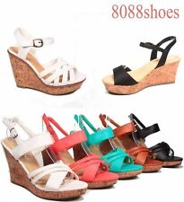 Women's Colors  Strappy Open Toe Wedges Heel  Sandal Shoes  Size 5.5 -10 NEW