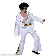 MENS Costume Fancy Dress Up SW Rock Star Elvis Deluxe White Size M,L,XL