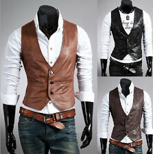 New Men's Korean Casual Slim Fashion PU Synthetic Leather Vest Jacket Coat MJ05