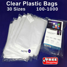 1 Mil Clear Poly Bags Large Small Plastic Baggies Open Top End Lay-flat PolyBags