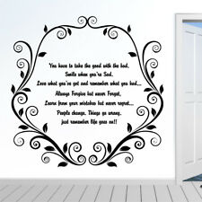 LIFE GOES ON wall quote bedroom lounge vinyl quotes large stickers house art