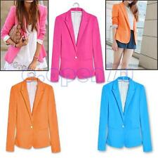 Candy Color Womens Lady's Basic One Button Lapel Casual Suits Blazer Jacket Coat