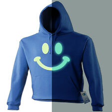 NEW GLOW IN THE DARK SMILEY FACE HOODIE S - party rave dnb acid shirt slogan uv