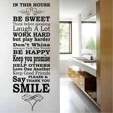 HOUSE RULES wall quotes be sweet large decal stickers murals decorative sticker