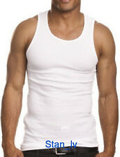 Cotton Basic Mens WHITE A-Shirt Tank Top Ribbed Wife Beater Athletic Undershirt