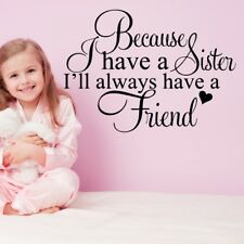 SISTER wall quotes best friends nursery decal girls bedroom transfer sticker