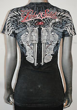 NEW REBEL SAINTS by AFFLICTION womens DUAL GUNS WINGS ss graphic TIE SIDES tee