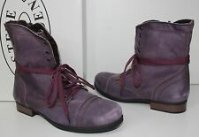 Steve Madden Junior Troopa combat lace-up boots purple leather Big Kids NEW