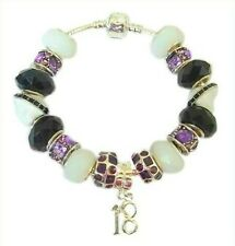 New Women Girls Purple Birthday Charm Bracelet Gift Boxed 13th 18th 21st 65th