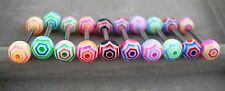 """1 PIECE 14g 5/8"""" Spider Web Striped UV Acrylic Tongue Nipple Barbell Ring"""