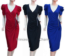 Black Red Blue Cocktail Evening Drape Dress Plus Size 24 22 20 18 16 14 12 New