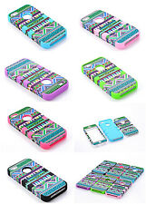 6 color High Impact Tribal Hard & Soft Hybrid Case cover for iphone 5 5G