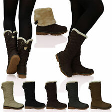 D6Y Womens Ladies Quilted Faux Fur Lined Thick Sole Mid Calf Boots Shoes Size
