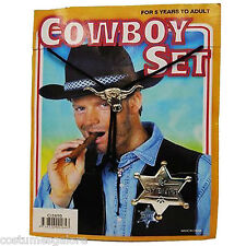Fancy Dress Costume Accessories SW Cowboy Sheriff Kit, String Tie & Badge