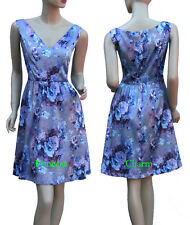 Vintage Style Cocktail Day Dress Blue Purple Grey Rose Print Size 8 10 12 14 New