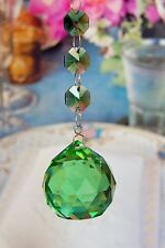 Two - Green - Lead Glass Crystal - 40 MM - Crystal Ball - Chandelier Prisms