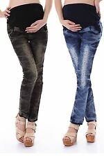Women Maternity Skinny Trousers Jeans Over Bump Pregnancy Cotton Crystal Legging