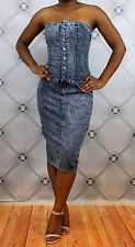 New Sexy Button Up Blue Jean Denim Tube Top Stretch Fit Dress