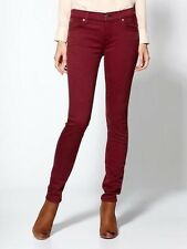 NWT $168 7 FOR ALL MANKIND The Skinny Slim Illusion Jeans Red Maroon 25 26 30