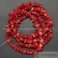 "Natural Red Coral Gemstone 5-8mm Chip Nugget Loose Spacer Beads 35"" Strand DIY"