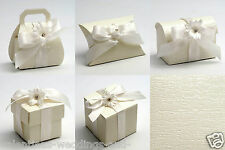 Best Quality DIY Ardesia Ivory Pearlised Embossed Wedding Favour Favor Boxes