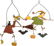 Halloween Witch on Broomstick Pumpkin Bat Metal Wall Art Decorative Plaque 14cm
