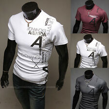 Men's Slim Round Neck T-Shirts Letter Printed Tee Top Short Sleeve Casual Shirts