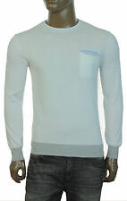 NEW MENS PERRY ELLIS CREW NECK WHITE COTTON PULLOVER SWEATER S