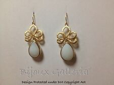 High Fashion Gold Plated Sparkle Royal Crown dangle drop white gem earrings