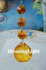 Two - Amber - Lead Glass Crystal - 30mm Crystal Ball - Chandelier Prisms Pedant