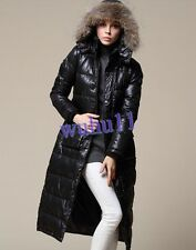 Womens Classic Black Full Length Parka Fur Hooded Long Down Jacket Puffer Coat