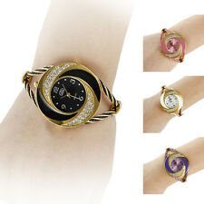 Women Fashion Whirlwind Circle Style Steel Analog Quartz Bracelet Watch Stylish