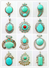 Beautiful Natural Turquoise & Tibet silver Pendant Bead XLZ-37