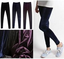 VELVET LEGGINGS, Black Navy Purple, S/M(UK 8 10 12)